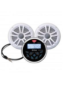 Boss Audio Ensemble de récepteur audio avec haut-parleur blanc Marine - 2 - 180 W